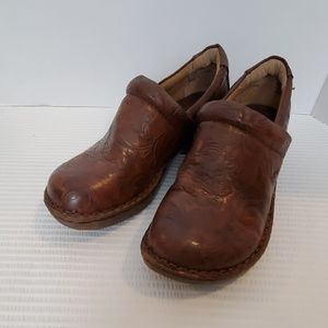 BOC Born Brown Leather Tooled Peggy Clog Shoe
